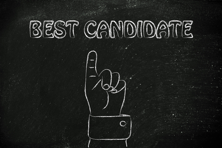reach customers: hand pointing up at the concept of Best Candidate