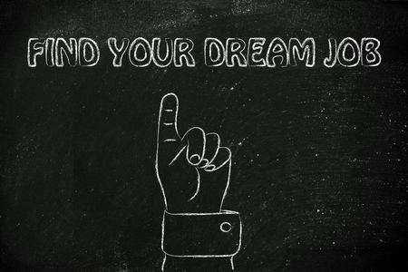 hand pointing up at the concept of Finding your dream job