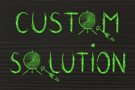 personalised: concept of choosing custom solutions, target illustration Stock Photo