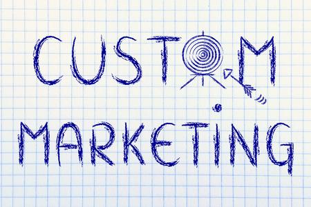 personalised: concept of custom marketing, target illustration