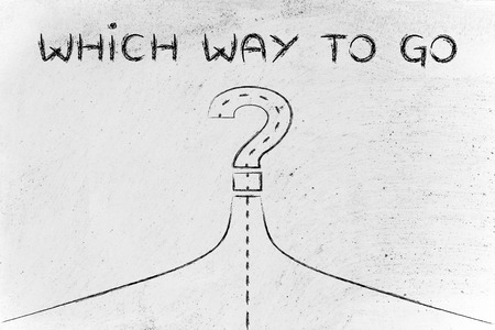 personal decisions: which way?, metaphor of road path turning into a question mark