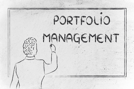 diversify: teacher (or ceo) writing on blackboard explaining about portfolio management