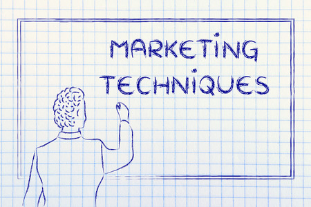 techniques: teacher (or ceo) writing on blackboard explaining about marketing techniques