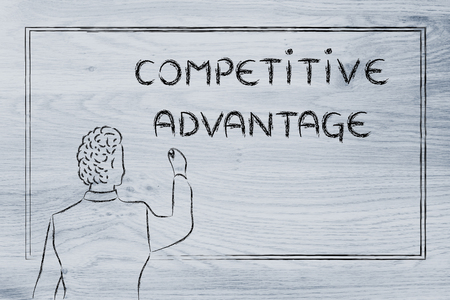competitive advantage: teacher (or ceo) writing on blackboard explaining about competitive advantage
