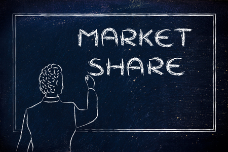 market share: teacher (or ceo) writing on blackboard explaining about market share Stock Photo