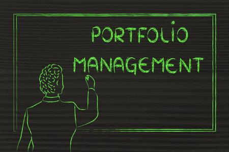 diversify: teacher (or ceo) writing on blackboard explaining about portfolio management