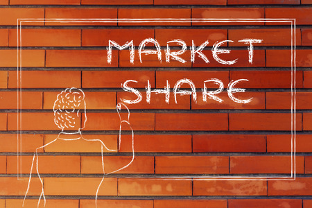 explaining: teacher (or ceo) writing on blackboard explaining about market share Stock Photo