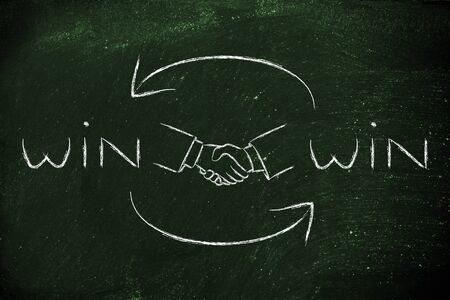 stakeholder: concept of Win Win solutions, shaking hands after an agreement
