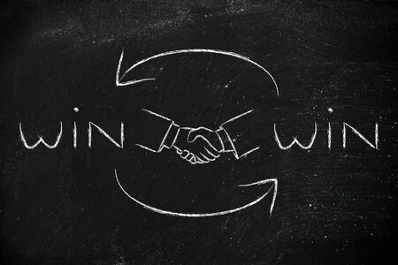 agreement shaking hands: concept of Win Win solutions, shaking hands after an agreement