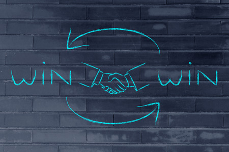 win win: concept of Win Win solutions, shaking hands after an agreement