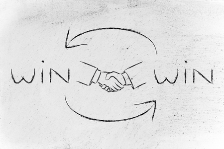concept of Win Win solutions, shaking hands after an agreement