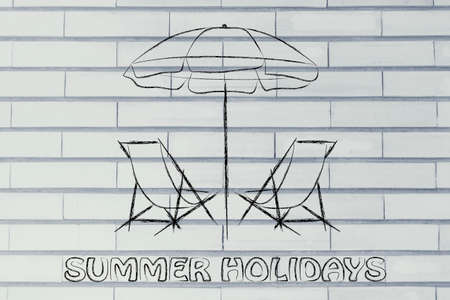 travel industry: beach chairs and umbrella, booking holidays and the travel industry Stock Photo