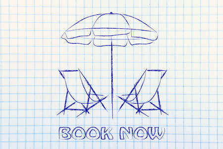 wander: beach chairs and umbrella, booking holidays and the travel industry Stock Photo