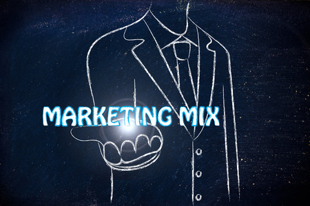 reach customers: business man holding the word Marketing Mix