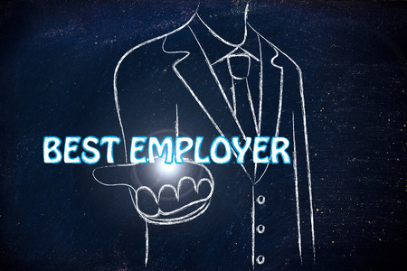 employer: business man holding the word Best Employer