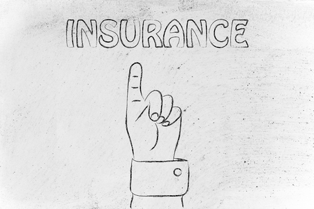 best protection: hand pointing up at the concept of Insurance Stock Photo