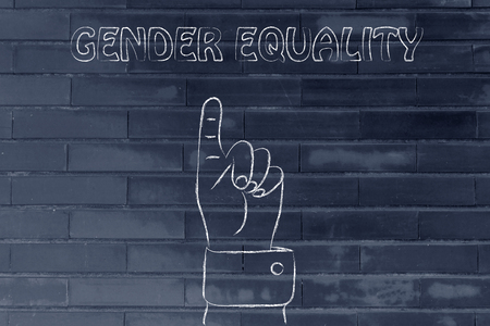 gender equality: hand pointing up at the concept of Gender Equality
