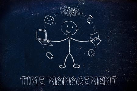 mision: la productividad y la multitarea: hombre de negocios que hace juegos malabares con objetos de oficina Foto de archivo