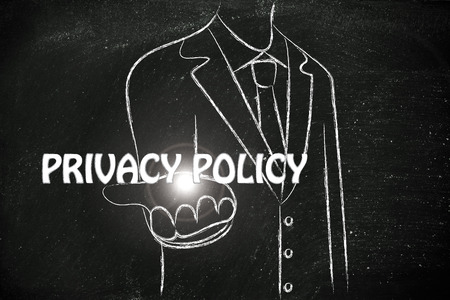 personal data privacy issues: business man holding the word Privacy Policy