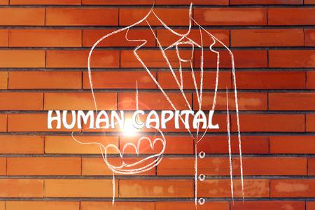 capital humano: hombre de negocios la celebraci�n de la palabra de Capital Humano