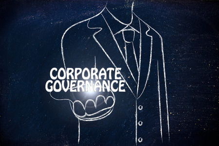 gobierno corporativo: hombre de negocios la celebraci�n de la palabra de Gobierno Corporativo Foto de archivo
