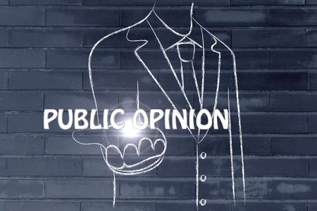 public opinion: business man holding the word Public Opinion Stock Photo