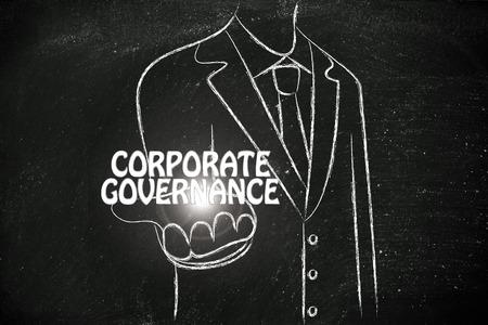gobierno corporativo: hombre de negocios la celebración de la palabra de Gobierno Corporativo Foto de archivo