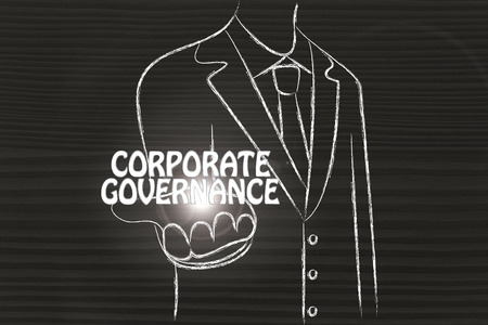governance: business man holding the word Corporate Governance