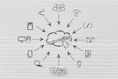 Concept de grande traitement des données et le cloud computing: les utilisateurs, les dispositifs et les transferts de fichiers Banque d'images - 37697372