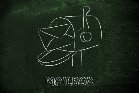 adress: computer inbox concept and real mailbox illustration Stock Photo