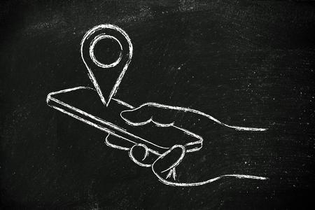 geotaggin et l'emplacement de partage, panier et main tenant un smartphone