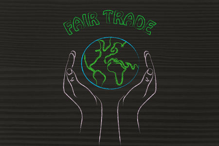 respecting: fair trade and respecting nature: metaphor of hands holding the planet
