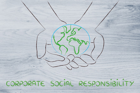 green economy and ecology: metaphor of hands holding the planet