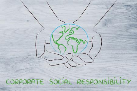 l'économie verte et l'écologie: métaphore de mains tenant la planète
