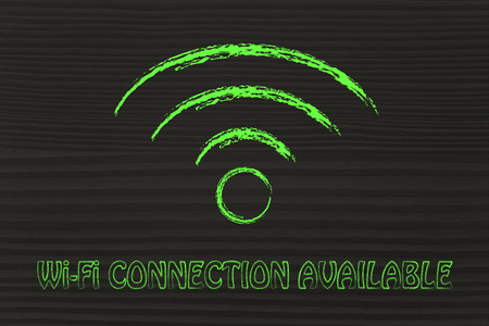 technology symbols metaphors: internet and wireless connection, symbol of Wi-Fi connectivity Stock Photo