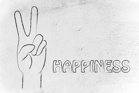 positivity: happiness and positivity: hands making the V peace sign Stock Photo