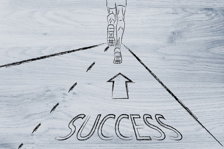 reaching your goals: man running on a road with directions towards success, concept of reaching your goals Stock Photo