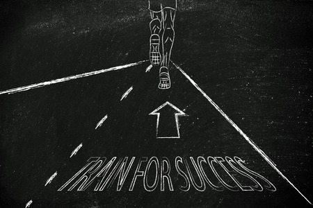 reaching your goals: man running on a road with directions to train for success, concept of reaching your goals Stock Photo