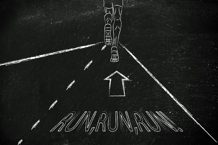 reaching your goals: man running on a road with motivational indications, concept of reaching your goals