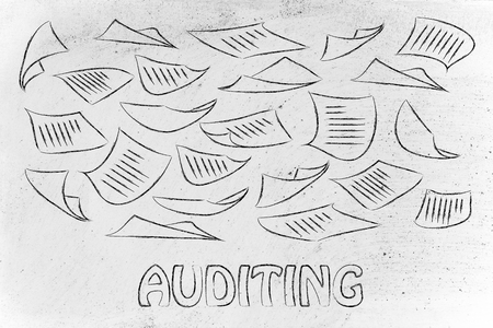 auditing: corporate auditing, illustration with plenty of document pages flying all around Stock Photo