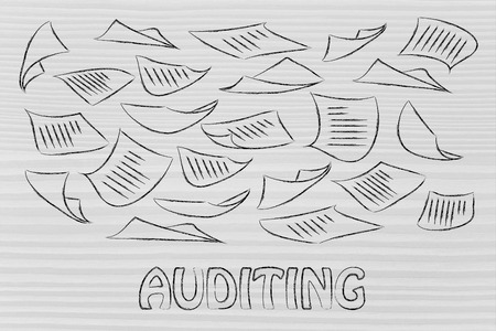 corporate auditing, illustration with plenty of document pages flying all around Stock Photo