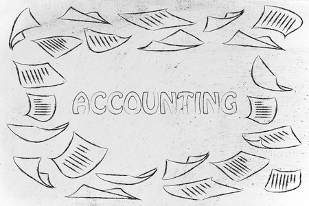 accounting and bookkeeping, illustration with plenty of document pages flying all around Stock Photo