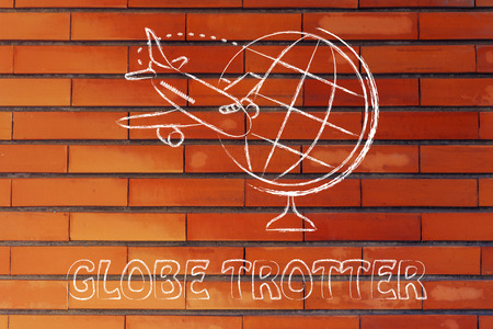 travel industry: globe and airplane flying: concept of booking holidays and the travel industry