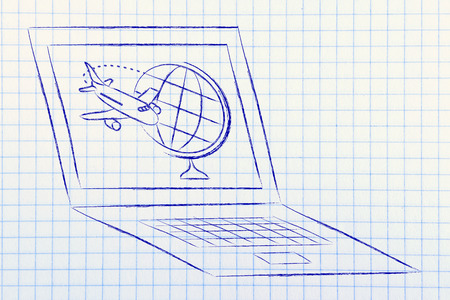 globe and airplane on a laptop screen: concept of online booking and business travel Stock Photo