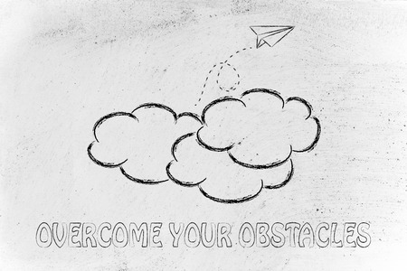 obstacles: paper airplane flying over clouds: concept of overcomin your obstacles Stock Photo