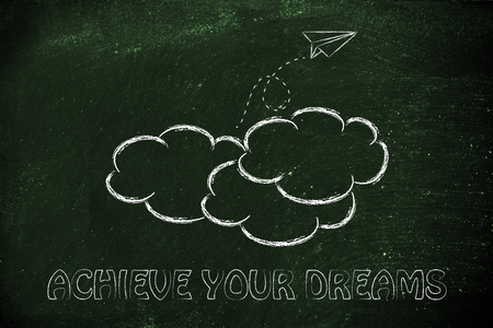 achieving: paper airplane flying over clouds: concept of achieving your dreams