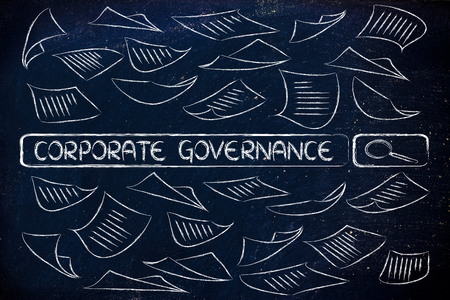 corporate governance: search engine bar surrounded by messy documents, reading about corporate governance Stock Photo