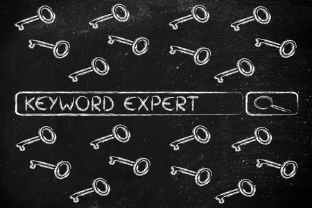 search bar with funny keys, researching about keyword experts