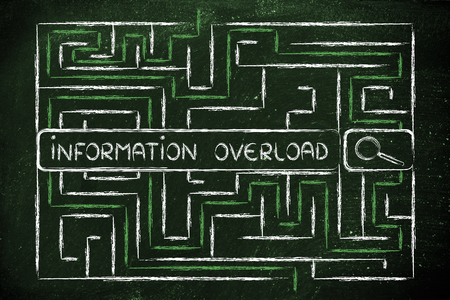 search bar surrounded by a maze, information and data overload or lack of organisation Stock Photo
