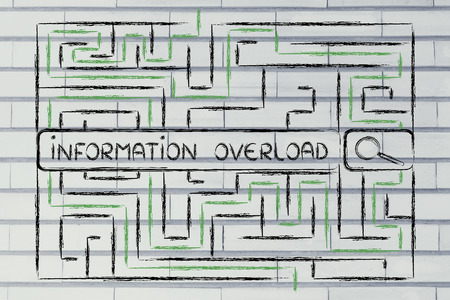 seach: search bar surrounded by a maze, information and data overload or lack of organisation Stock Photo